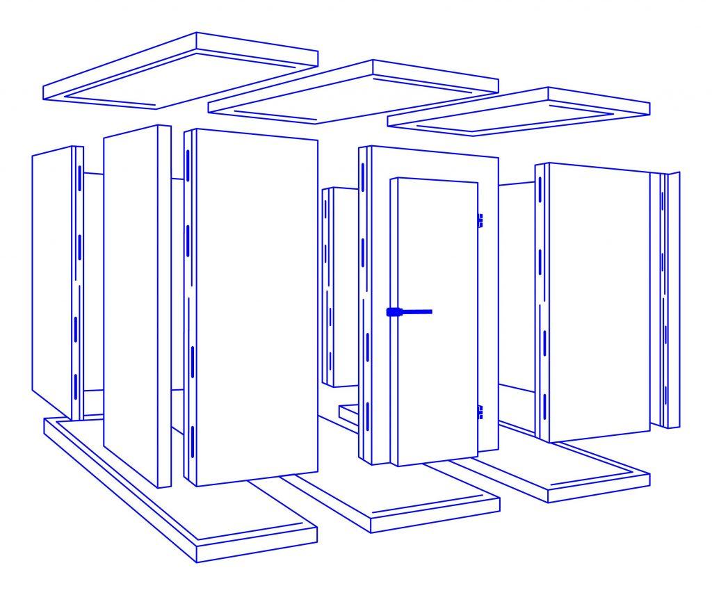 Graphik der Bauteile einer Kühlzelle.